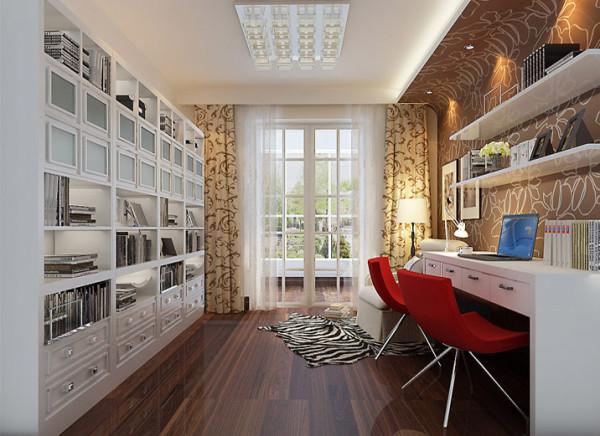 设计理念:给业主创造一个舒适的读书办公环境,整洁而又舒适! 亮点:整体式大书柜让爱好读书的业主收藏起自己所有的书;一个沙发一个落地灯,静静的享受读书时光!