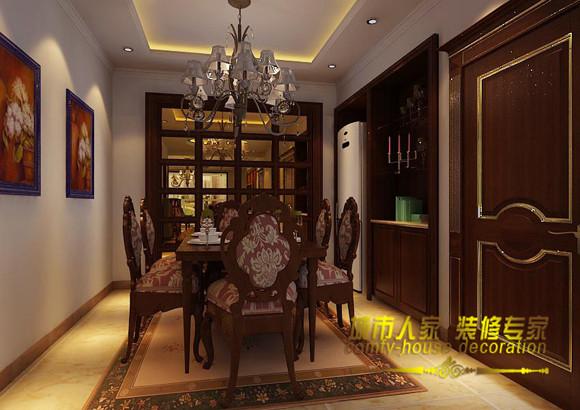 简单的背景装饰,褐色的主色调,搭配上华丽的金色,彰显出整体的大气庄严的效果。白色的墙面与黄色光晕的完美结合,在华丽庄重中,多了些许温暖与俏皮。石家庄城市人家装饰