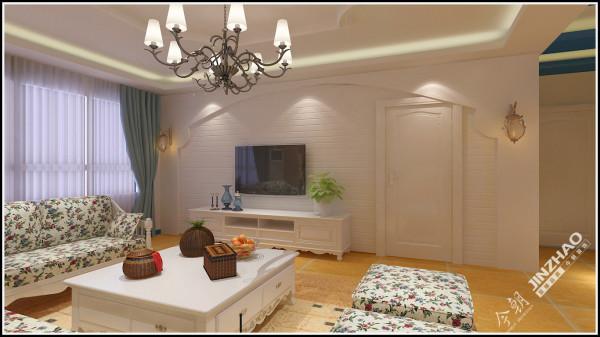 电视墙采用了地中海风格中常见的大圆弧造型,使之田园地中海穿插效果。