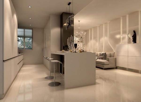 餐厅最大的亮点是在开放式厨房的前提下,在电视背景墙的上半部分做吧台与厨房、电视背景钱设计为一个整体吧台,主人在用餐的环境中增加了便捷、舒畅、自然。