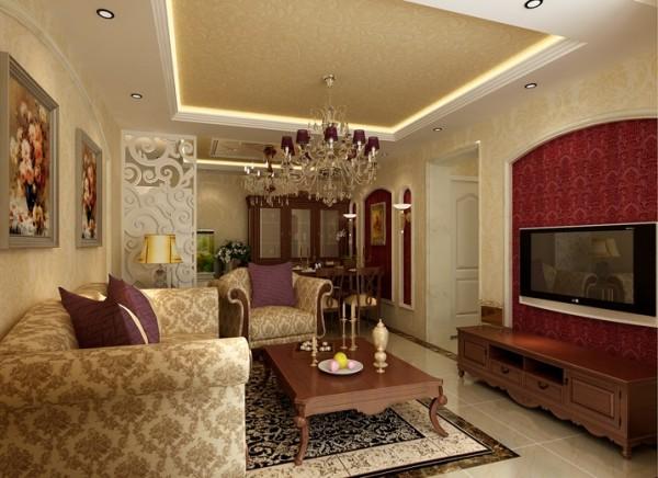 设计理念:以淡淡地暖黄色壁纸做墙面处理,隐约可见的对称纹理,与室内陈设完美融合,用流动的线条和鲜亮的颜色装点电视背景墙。简单地矩形吊顶配上灯光和协调的纹理已不再单调。