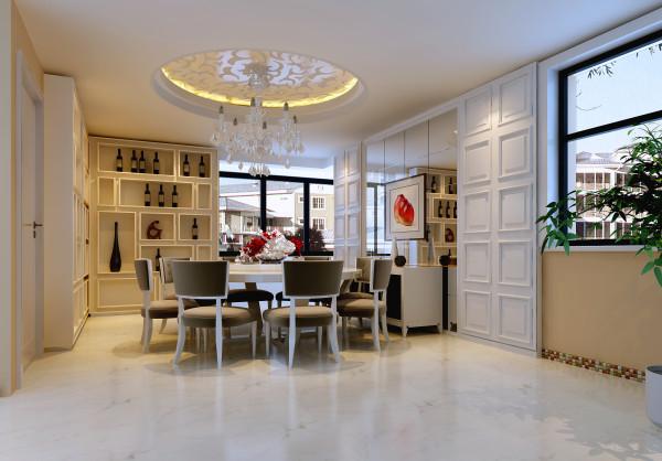 餐厅的设计较为复杂一些,整体空间很大,客户又想要一些酒柜与储藏的东西,因此做了一些装饰酒柜,但是既然柜子肯定会显得拥堵一些,所以切边玻璃起到了很好的角度效果。