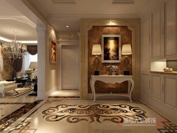 入户门厅,地面拼花彰显欧式大气与尊贵图片