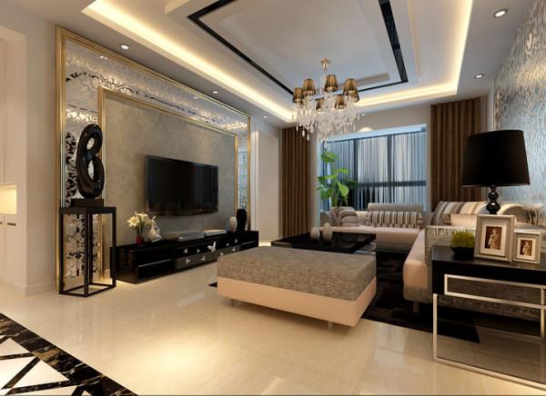 电视墙简约大气,采用印花艺术玻璃作为装饰,香槟色相框收边,奢华感十足,顶部黑色烤漆玻璃同时也做到了很好的呼应。客人来做客,会有一个待在一个很艺术,很现代,比较低调奢华的一个空间,心情也会比较的陶醉。