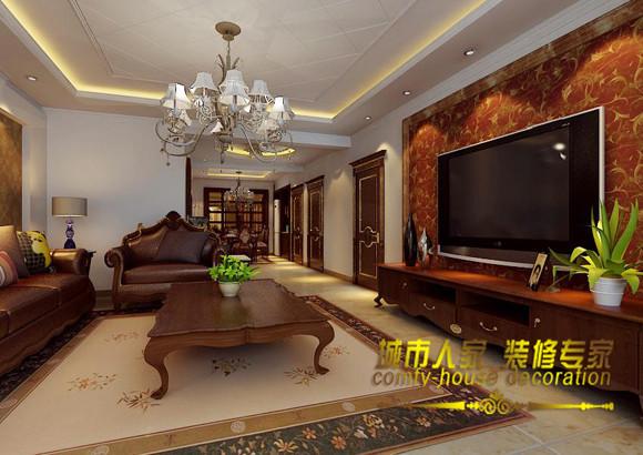 简单的背景墙,赭石色暗花壁纸配合简单插画,在简单的搭配中形成深沉与优雅的完美结合,在深褐色沙发组合的配合下,褐色成为客厅完美的主角。石家庄城市人家装饰
