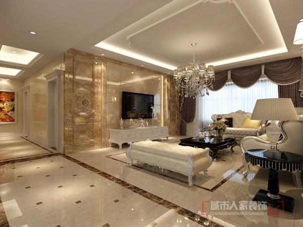 客厅电视背景墙 肌理的电视背景墙,明亮素实的窗帘,和古典色彩相呼应的吊灯。
