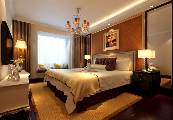 既保留了欧式的典雅与豪华, 又更适应现代生活的休闲与舒适。 亮点:床头背景以简约的线条代替复杂的花纹,采用更为明快暖色系的壁纸及镜面造型加以点缀。