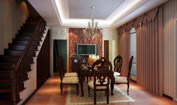 餐厅地面延续客厅同材质仿古砖,铺设拼花层层递进,背景墙精选富丽独特的红色花纹壁纸作为视觉主题,融合古典风格的对称布局,两侧门口上方以天然石材对称打造立面设计。