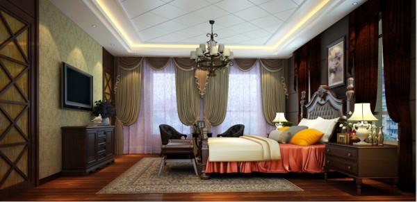 主卧房尽显端庄尊贵雍容华贵的魅力风范,最特别之处在于现场工艺制作的以主卧和衣帽室入门为背景的对称电视墙,四段分割的门体上亦镶嵌暖金色清玻,两者妙思合二为一心思之精。
