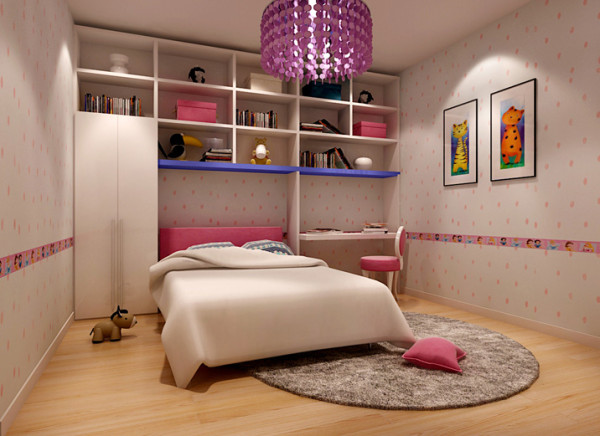 卧室中的整体书柜,为孩子提供了良好的学习氛围。