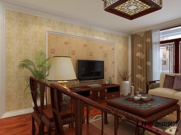 现代中式客厅电视墙造型细节,墙纸与线条的完美结合,色调简单宁静!