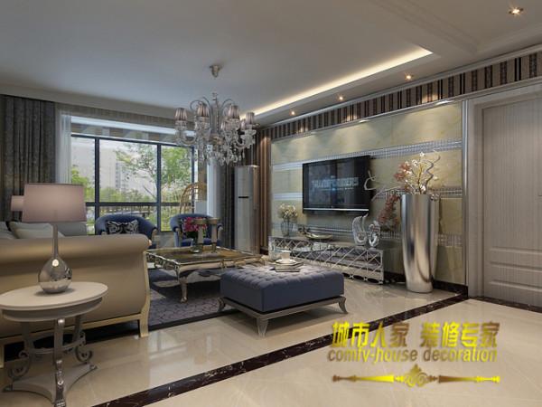 镜面材质的电视柜让整个客厅充满时代潮流感,洋溢着浓浓的现代感。欧式造型的茶几让整个客厅带着丝丝欧式风韵。石家庄城市人家装饰