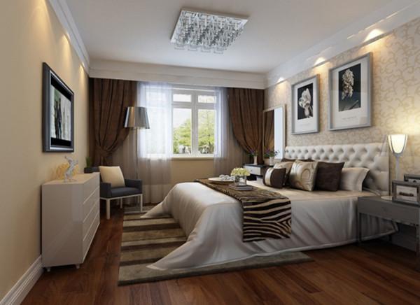 在次卧没有延用主卧的原木色地板,而是采用白色橡木地板呼应了空间色,让简洁明快充斥空间。