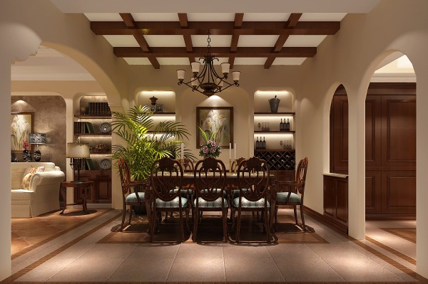 餐厅的位置和客厅的位置连起来的,门洞采用弧线形的,很温馨,设计师对餐厅吊顶的设计,用了田字形方格的设计,是餐厅和客厅有了很自然的区分