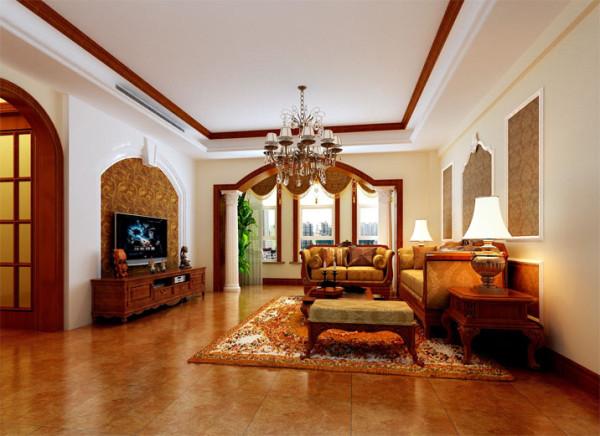 经典的地面仿古色地砖与经典墙饰围绕的墙纸突出的经典欧式。