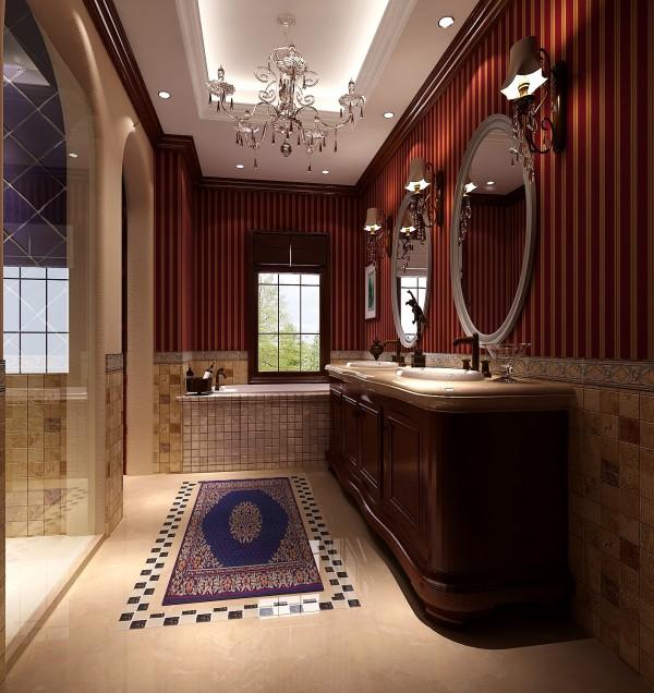 卫生间的设计,采用了复古的红色,墙面与洗漱台色彩相呼应,墙面还采用了马赛克的形式,非常的时尚大气,顶部灯带的设计,是整个卫生间非常明朗
