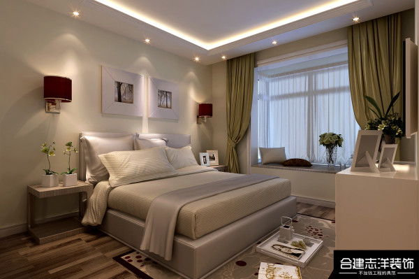 主卧室:以为主卧面积较小,所以衣柜采用白色,这样看起来不会占用太多空间