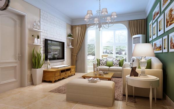 清新,淡雅,客厅设计采用仿古砖造型,
