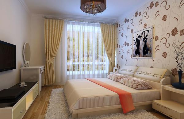 主卧室氛围则更加温馨,米色花纹的床头背景墙用以黑色的相框点缀,米色的床上用品和窗帘,与黑白色的电视柜、梳妆台相搭配