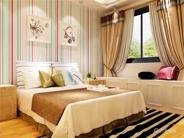 卧室的设计采用现代风格特点,给人的生活带来轻松的感受,壁纸为竖条纹,地面采用实木复合地板,环保而又舒适,床为白橡木材质颜色素雅,整体空间温馨而不失浪漫,能够让工作一天的主人有个放松而舒适的休息环境。