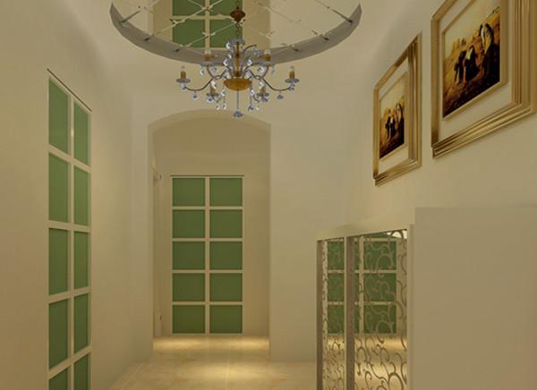 门厅的一盏吊灯,成为入户之后最耀眼的装饰,简洁的空间中点缀着这一有些跳跃的色彩,使门厅简约而不简单。