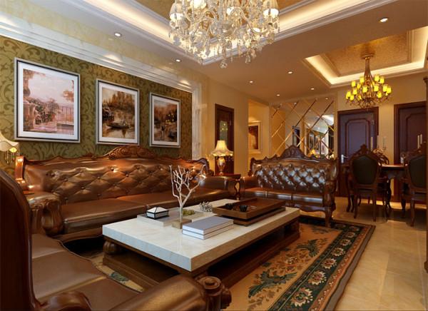 以华丽的水晶灯装饰、金黄色的金箔漆饰顶面、精美的大理石造型达到雍容华贵的装饰效果