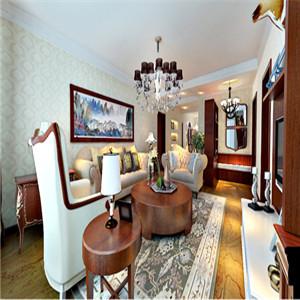客厅作为家中的待客场所,设计师要求简洁明快,比其他空间更用心,客厅内的装饰、家具都体现了美式影子,沙发墙上的装饰画体现了中式风格,在简约美式中带有一丝中式韵味。