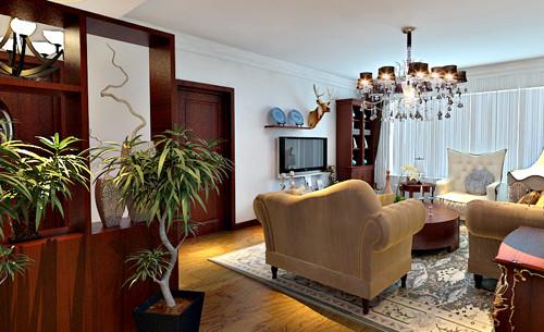本案为美式风格三居室,强调简洁,注重实用,讲究空间的利用与家具的摆设