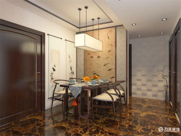 餐厅空间加入木结构造型墙挂。传统中加入后现代的视觉冲击,在安静中加入点点活力,镜面造型墙起到扩展空间作用。