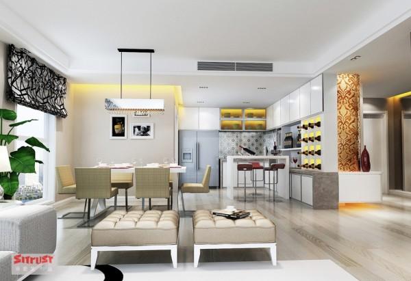 厨房餐厅区域布置的有条不紊,酒柜及小吧台,可以给小两口浪漫的享受;简约色调柔和的餐桌椅配饰,让整个空间充满幸福的味道。
