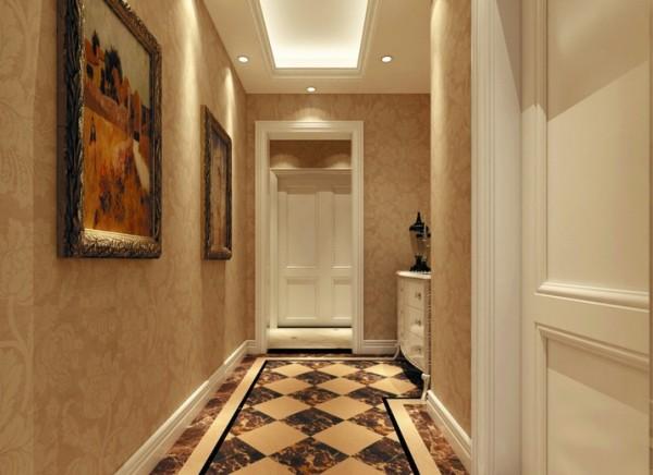 设计理念:墙面选用统一的欧式大马士革花型壁纸,配上白色的木  门,简洁大方。 亮点:地面石材的铺装设计锦上添花,笔直的线条与几何图案与墙面的曲线花型  形成鲜明对比。