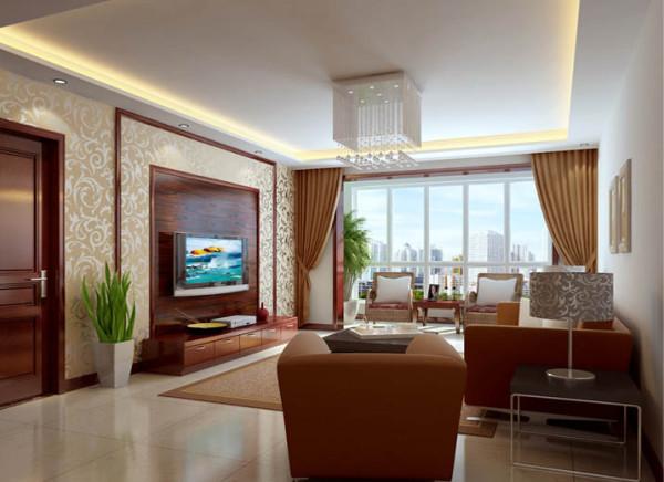 电视背景墙拱型里的木质是吸引眼球的一道亮丽景点,在设计师配置的射灯下,更显亮丽。这种随性的客厅设计也给生活带来更多的自由和遐想。