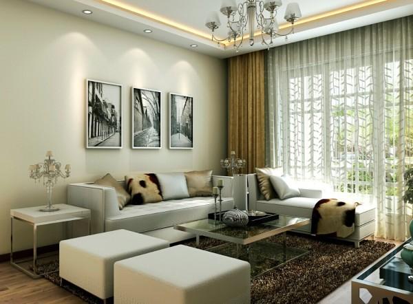 沙发背景墙用黑白的古建筑的风景画做为装饰,给沙发的色彩相近,达到统一的效果。