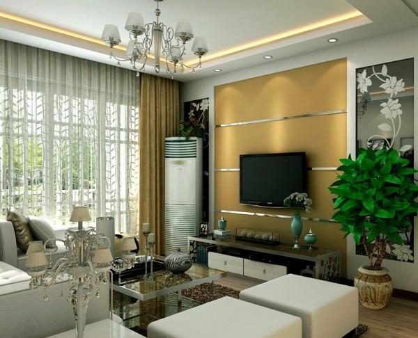 棕色铺贴并用白镜条做勾缝的电视背景墙,与白色的家具呼应,拉伸了视线。彰显现代风格的简约时尚。