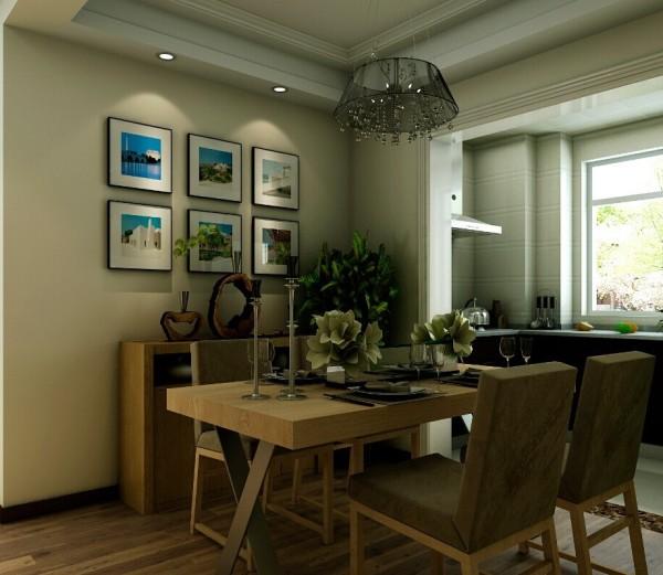 简约风格的餐桌椅配以简洁的烛台作为装饰,墙面上的风景画让个餐厅多了一丝自然气息。