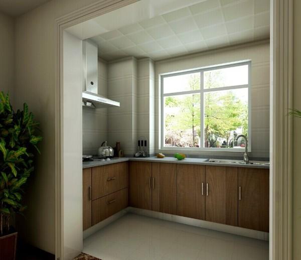 厨房U型的橱柜非常具有使用性。原木色的箱体板拥有大自然的气息。大型的窗户增加了厨房的采光性。