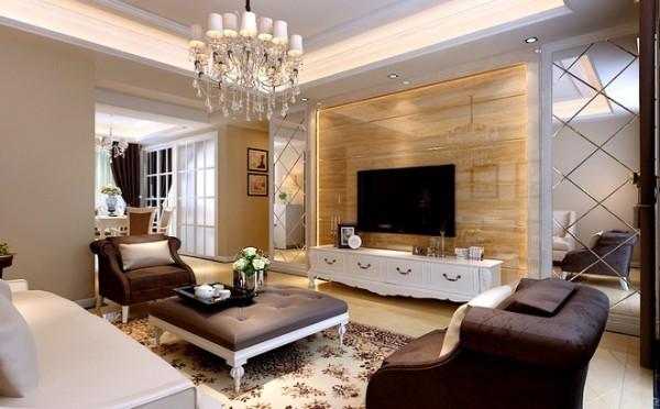 将整个空间的设计风格有了一个准确的定位,同时给人以大气的感觉,配合墙面造型和顶面浮雕等一些元