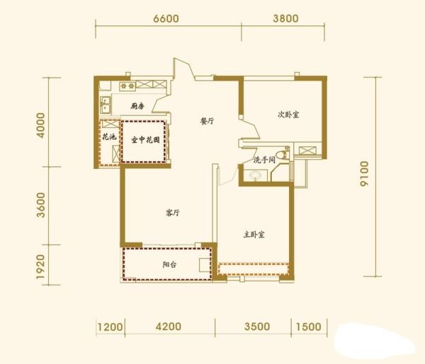 融侨上院-东南亚风格-两居室装修-户型图