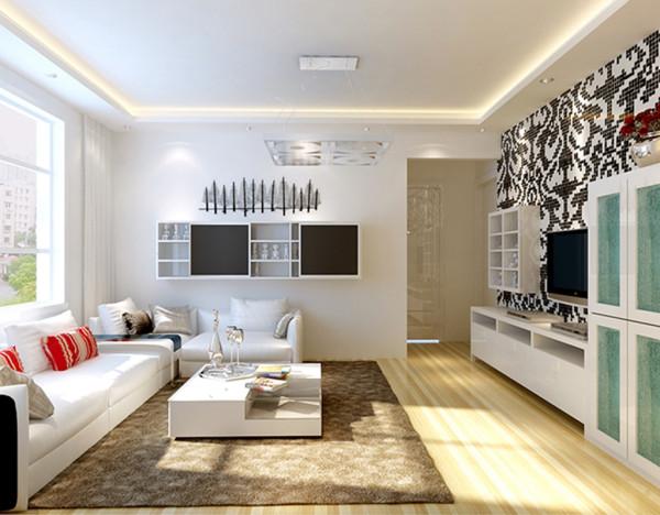 简约风格客厅  黑白色的马赛克壁纸,让灵动的自然气息呼之欲出