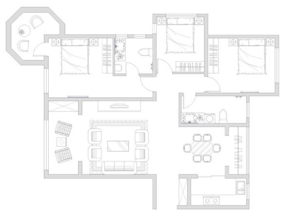 户型优点:典型经典三室户型,客餐厅通透宽敞,卧室分布合理,整个户型的采光效果非常好,满足高质量生活的需求。 户型缺点:阳台比较多,建议做休闲阳台。