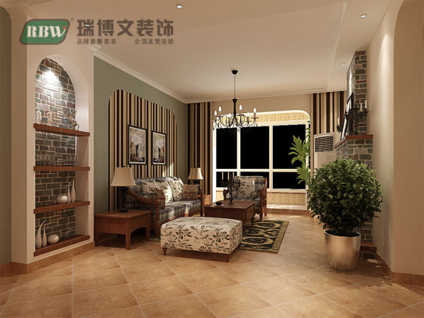 沙发背景墙的设计结合了地中海风格的拱形元素,个性的壁纸和大面积的颜色漆带给人们一种特别的视觉享受;棉麻制品的布艺,是美式乡村风格的最佳选择,将那份质朴感演绎地淋漓尽致。