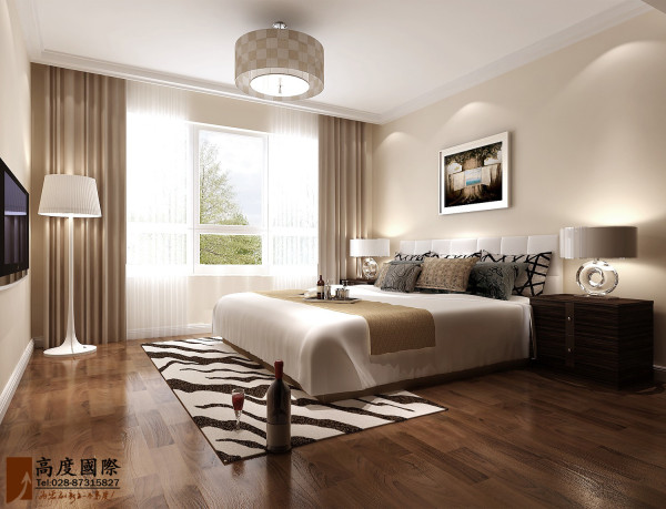 卧室简洁和实用是本设计的基本特点,适度的装饰使家居不缺乏时代气息,使人在在空间得到精神和身体的放松,并紧跟着时尚的步伐,也满足了现代人无限的居家乐趣
