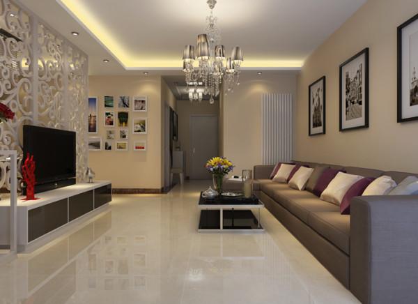 客厅顶面造型都采用支线吊顶,与电视背景墙相互呼应,更加温馨。客厅的电视墙采用一个简单的木质雕花,运用简单的装饰材料营造出现代化的空间。