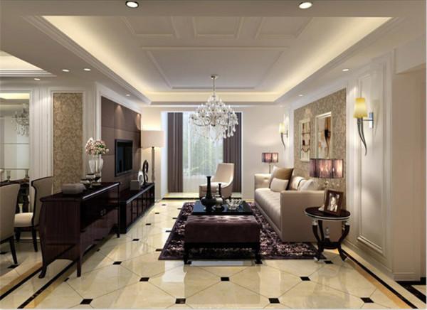 为表现出华而不奢,电视墙采用了咖色软包并且用石膏线勾边,沙发墙采用对称式设计,采用暖色调壁纸,整体互相协调。本空间主要采用黑白灰色系,体现了既可以悠闲自在、也可以奢华的简欧设计观。