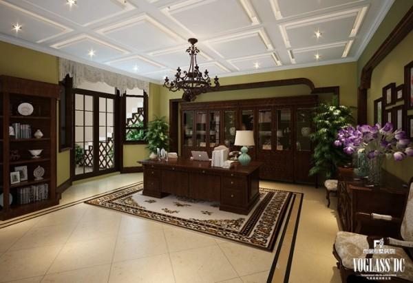 别墅中的书房是为主人精心调制的一道主菜。在纯美式的别墅装修设计中加入了中式的书房,沉醉的意境如溪水潺潺而来,坐在其中,感受一页页的书香与墨香,岂不美哉!