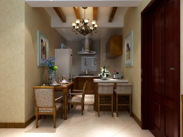 """原始户型餐厅过小,所以拆除了厨房与餐厅隔墙,做成开放式的厨房,这样既满足了烹饪与就餐的需求,同时增大空间的视觉效果。便捷的就餐台的加入,为生活增添了不少休闲时尚的气息。"""""""