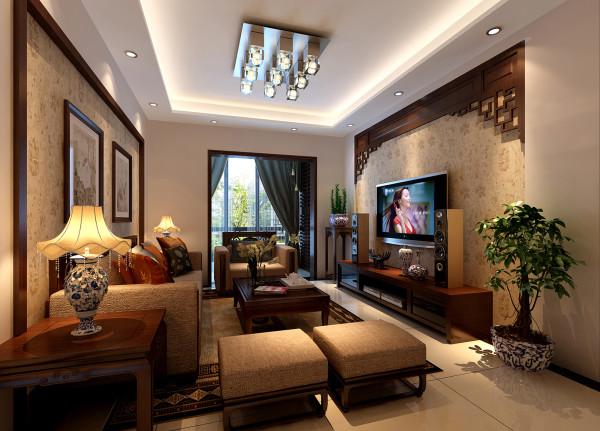 金辉枫尚-新中式-96平米两居室装修-客厅装修效果图