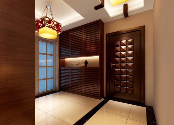 金辉枫尚-新中式-96平米两居室装修-门厅装修效果图