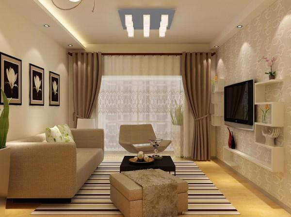 客厅整体整洁舒适,米黄色的伊诺瓷砖,为业主打造了温馨的居住环境。