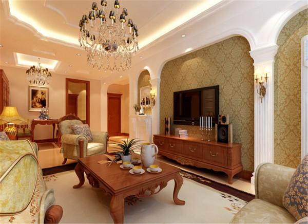 本案设计为欧式风格,背景墙统一为拱形设计,无纺布的墙纸配以欧式的布艺沙发,让空间不那么零乱,仿古的地砖拼花铺贴,让地面不那么方正,让整体空间回归自然的感觉。